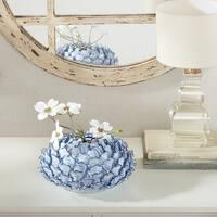Madison Park Azura Light Blue Chrysanthemum Ceramic Vase-Large