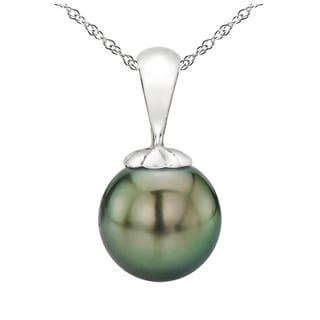 """DaVonna 14k White Gold 10-10.5mm Round Black Tahitian High Luster Pearl Pendant Necklace, 18"""""""