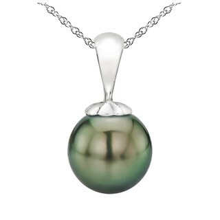 DaVonna 14k White Gold 11-11.5mm Round Black Tahitian High Luster Pearl Pendant Necklace, 18""