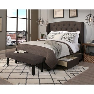 archer grey headboard storage bed and bench set e king
