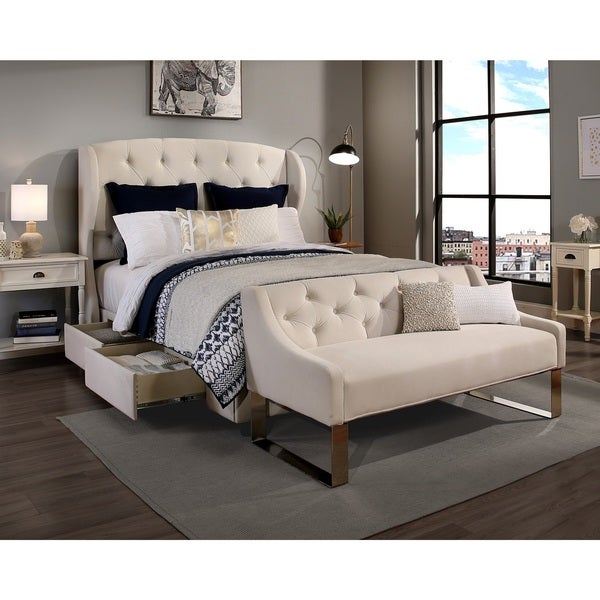 Republic Design House Archer Ivory Tufted Upholstered King Cal Bedroom Collection With Sofa Bench