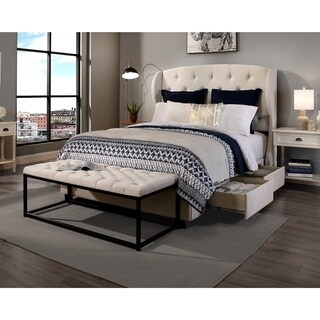 Republic Design House Archer Ivory Tufted Upholstered King/ Cal King Bedroom Collection with Flat Be