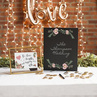 Black Wood Floral Wedding Chalkboard Sign