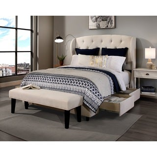 republic design house archer ivory kingcal king headboard storage bed and bench collection - California King Bed Frame With Storage