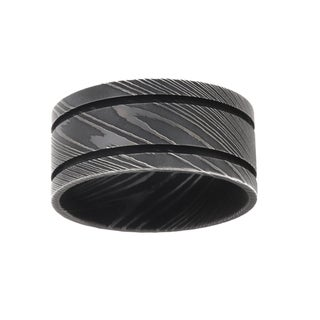 11MM, Double Groove Damascus Steel Ring For Men