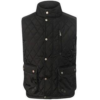 Men's Black Polyester Quilted Vest