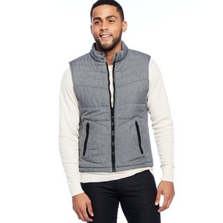 Men's Grey Polyester Quilted Vest