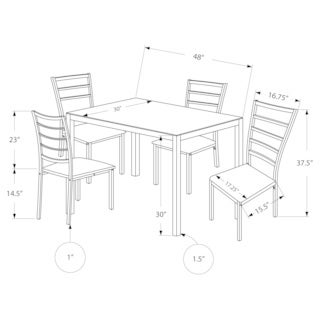Silver Framed Frosted Glass 5-piece Dining Set