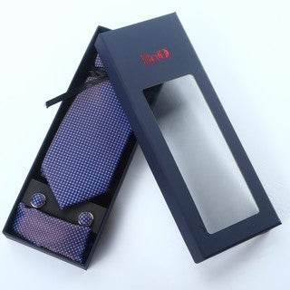 Brio 3 Piece Polka Dot Navy/Blue Tie, Hanky and Cufflink Set