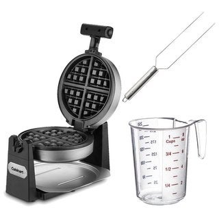 Cuisinart WAF-F10 Round Belgian Waffle Maker w/ Waffle Fork & Measuring Cup - Stainless Steel