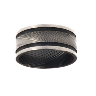 10MM, Double Groove Damascus Steel Ring For Men