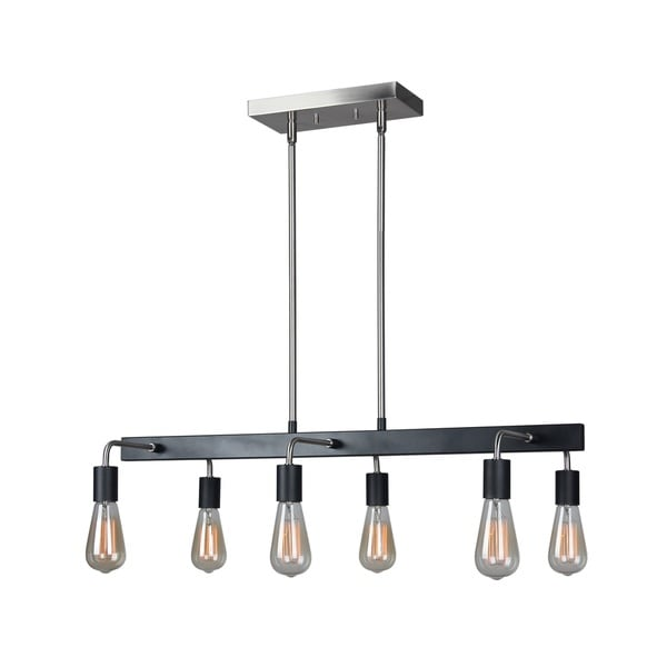 Woodbridge Lighting Ethan Silvertone Black Stainless Steel 6 Light Linear Pendant With Bulb