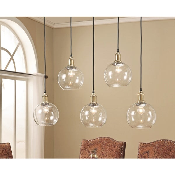 Shop Abbyson Edison Glass 5-light Pendant Light