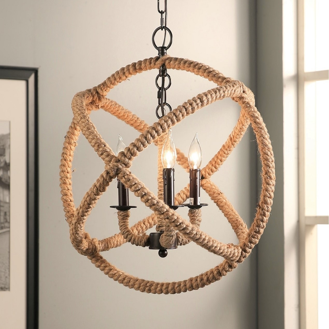 Abbyson Tuscan Iron 3-light Rope Enclosed Chandelier (Tus...