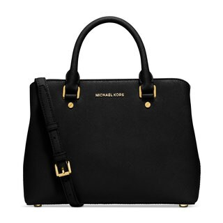Michael Kors Savannah Black Leather Medium Satchel Handbag