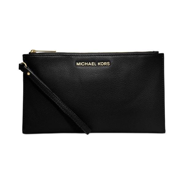 fe1a17c4c898 Shop Michael Kors Bedford Black Leather Large Zip Clutch - Free ...