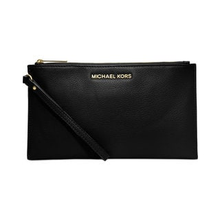 Michael Kors Bedford Black Leather Large Zip Clutch