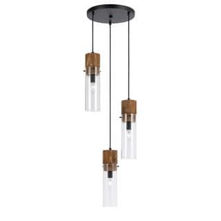 Spheroid Bronze-finish Wood and Glass 3-light 60-watt Pendant Light