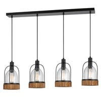 Beacon Metal Wood Glass 4-light Island Fixture
