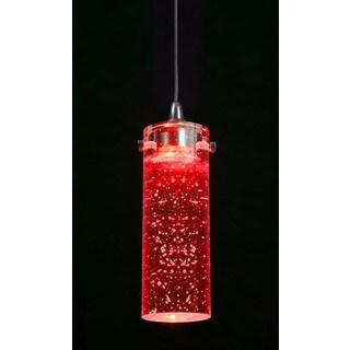 Red/ Silvertone Metal/ Glass Hardwired Pendant Light