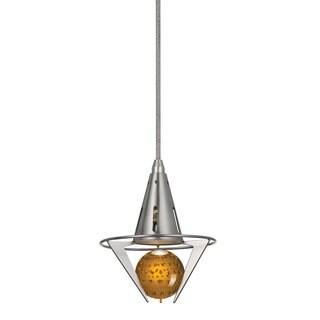 Orange Glass and Brushed Steel 120-volt 4-watt GU10 LED Pendant Light