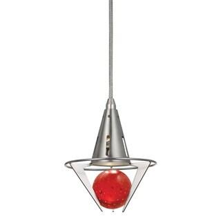 Red and Brushed-steel Metal 4-watt GU10 LED 120-volt Pendant Light