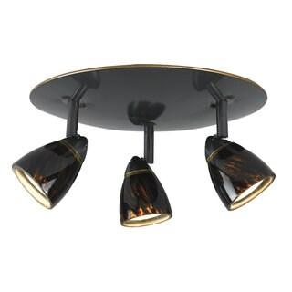 Orbit Tortoiseshell Shade Metal 3-light Flush Mount Light