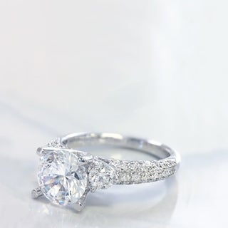 Lihara and Co. 18K White Gold and 0.62ct TDW Semi-Mount Diamond Engagement Ring (G-H, VS1-VS2)