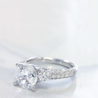 Lihara and Co. 18K White Gold and 0.62ct TDW Semi-Mount Diamond Engagement Ring