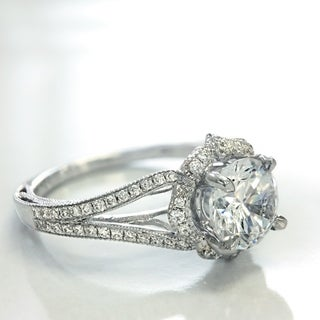 Lihara and Co. 18K White Gold and 1/4ct TDW Semi-Mount Diamond Halo Engagement Ring (G-H, VS1-VS2)