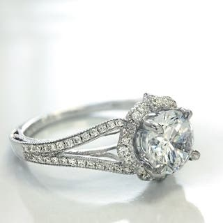 Lihara and Co. 18K White Gold and 1/4ct TDW Semi-Mount Diamond Halo Engagement Ring