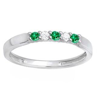 14k White Gold 1/4ct TW Green Emerald and White Diamond 5-stone Band Ring (I-J, I2-I3)