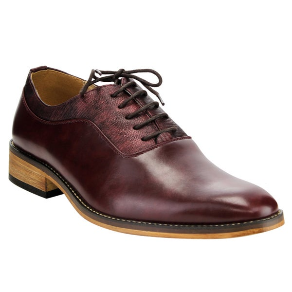 Miko Lotti Men's FG01 Wine Faux Leather Lace-up Plain Toe Oxford Formal Dress Shoes