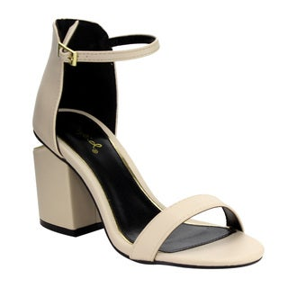QUPID FF71 Women's Single Band Ankle Strap Slit Chunky Block-heel Sandals