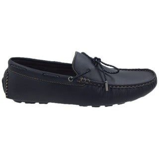 Mecca Men's Black Faux Leather Lace Slip-on Loafer Boat Shoes