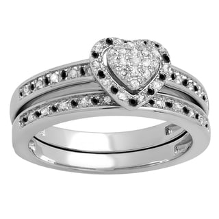 Sterling Silver 1/4ct TDW Round Black and White Diamond Heart Bridal Ring Set (I-J, I2-I3)