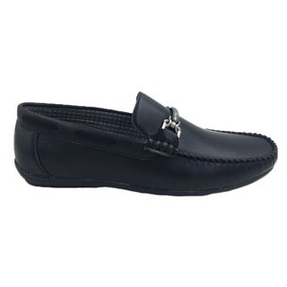 Mecca Men's Slip-on Black Faux Leather Loafer Driver Shoes