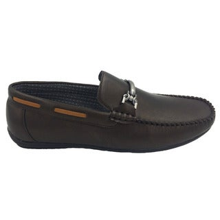 Mecca Men's Gold-tone Faux-leather Slip-on Loafer Driver Shoes