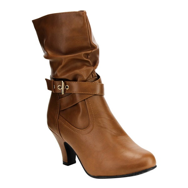 IB95 Women's Ankle Strap Slouchy Chunk Heel Mid-calf Boots