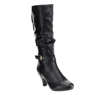 Forever Women's IB94 Buckle Strap Slouchy Chunky Heel Knee-high Boots