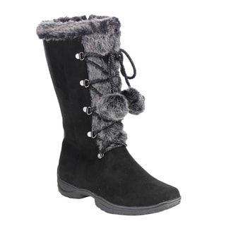 Forever IB93 Women's Pom Pom Lace-up Faux Suede Snow Boots
