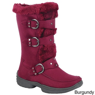 Forever IC01 Women's Studded Buckle-strap Mid-calf Cold Weather Winter Boots