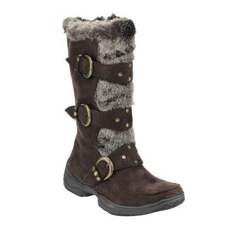 Forever IC01 Women's Studded Buckle-strap Mid-calf Cold Weather Winter Boots|https://ak1.ostkcdn.com/images/products/13790875/P20441469.jpg?impolicy=medium