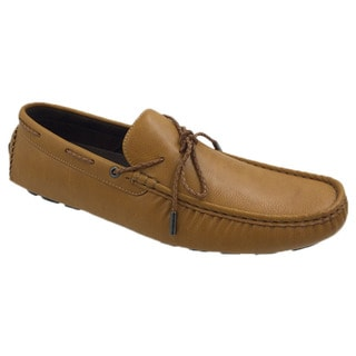 Mecca Men's Tan Faux Leather Lace Slip-on Loafer Boat Shoes