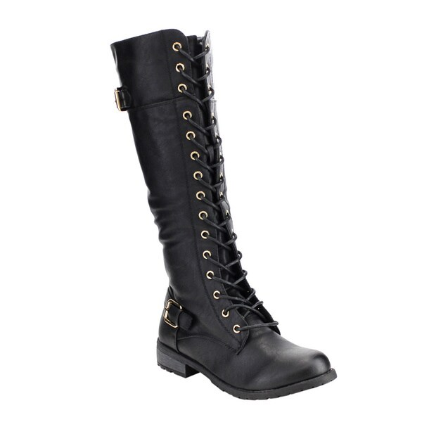 forever s ic10 faux leather lace up buckle