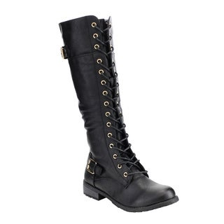 Forever Women's IC10 Faux Leather Lace-up Buckle Strap Chunky Heel Combat Knee-high Boots