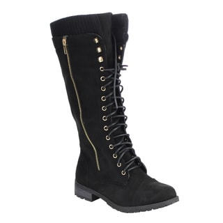 Forever IB98 Women's Lace-up Side-zipper Chunk-heel Knee-high Boots