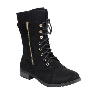 Forever Women's IB97 Faux Suede Lace-up Sweater Collar Chunk Heel Mid-calf Boots
