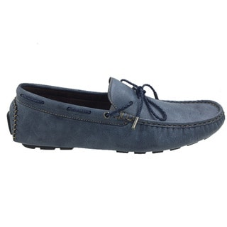 Mecca Men's Navy Faux Leather Slip-on Loafer Boat Shoes