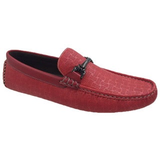 Mecca Men's Red Faux Leather Slip-on Loafer Driver Shoes